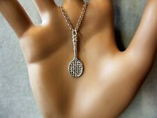 new sterling silver small tennis racquet pendant & chain