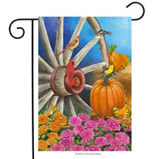 "Autumn Wagon Wheel Garden Flag Pumpkin Cardinal Fall by Custom Decor 12"" x 18"""