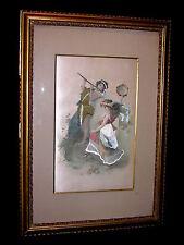 Romantische Seidenstickerei auf Seide Pan mit Tänzerin ca. um 1900