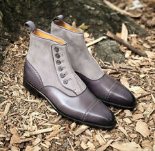 Men's All Leather Suede Boots Men's Gray Button Top  Ankle High Dress Boots