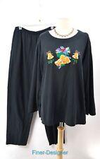 KAVIO DESIGNS Ugly Christmas suit Shirt Top PANT set knit stretch blouse 1X 2X