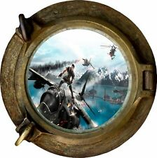 Huge 3D Porthole Fantasy Army Fighter View Wall Stickers Film Decal 373