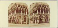 Italia Venezia Palais Ducale, Foto Stereo Vintage Albumina Ca 1860