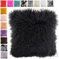 Mongolian Long Curly Wool Sheepskin Cushion / Pillow & Cushion Inner