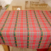 Linens CHRISTMAS Tablecloth Round Plaid Woven Trees Red Multi 64X64