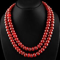 GENUINE 980.00 CTS EARTH MINED 2 LINE RICH RED RUBY ROUND SHAPED BEADS NECKLACE