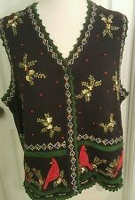 Ugly cute CHRISTMAS beaded embrioded SWEATER VEST CARDINALS SZ L Large