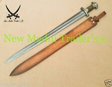 "38"" DAMASCUS SAMBAR RED STAG HANDLE HANDMADE VIKING SWORD"
