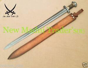 "38"" DAMASCUS RED DEER ANTLER HANDLE HANDMADE VIKING SWORD"