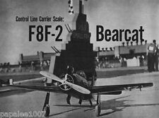 """Model Airplane Plans (UC): F8F-2 BEARCAT 36"""" Navy Carrier / Scale for .60 Engine"""