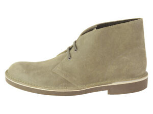 Clarks Men's Bushacre 2 Taupe Distressed Ankle Boots Shoes