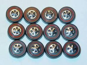 Hot Wheels Redline REPRO WHEELS Large Black Cap Set of 12 -New Mold!