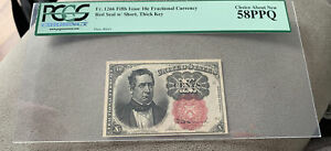 FIFTH ISSUE 10 CENT FRACTIONAL CURRENCY, FR#1266 SHORT THICK KEY PCGS 58 PPQ