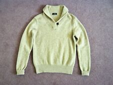 Brooks Brothers beige lambswool jumper w buttoned shawl collar VGC UK 8/10