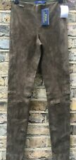RRP980£ Ralph Lauren olive green real suede leather stretch trousers S-8 BNWT