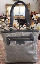 Coach F14693 Penelope Signature Gray Canvas Leather Tote Bag EUC! MSRP $298