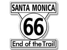4x4 inch Santa Monica END OF THE TRAIL Route 66 Sign Shaped Sticker - highway sm