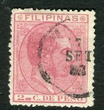 PHILIPPINES;  1880 early classic Alfonso issue used 2c. value,  Postmark