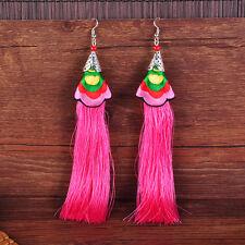 Bohemian Fringed Tree Shaped Tassel Long Hook Dangle Earrings Statement Jewelry