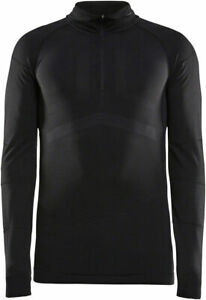 Craft Active Intensity Zip Neck Long Sleeve Top - Black/Asphalt, Men's, Small