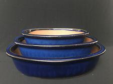 Japan Glazed  Bonsai Tree Oval Pot : 1set/3pcs  #34-1
