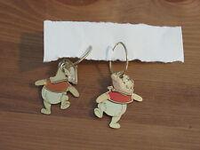 Winnie The Pooh Signed Disney Hoop Earrings Pierced Post Teddy Bear (Lot B)