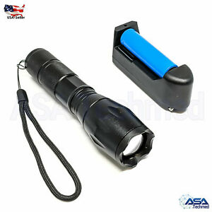 CREE T6 Tactical Military LED Flashlight Torch 50000LM Zoomable 5-Mode for 18650