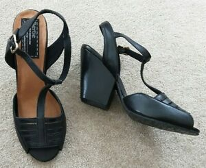 """Size 5 (38) from """"Bertie"""" - Brand New Black Sandals with 3.5"""" Steady Heels BNWOB"""