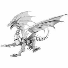 "Fascinations Metal Earth ICONX 3D Model Kit Silver Dragon 6"" Inch"