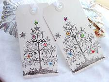 10  Luxury White Bejeweled Christmas Tree  Gift Tags  Handmade