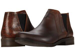 Women's Shoes Clarks DEMI 2 BEAT Low Heel Ankle Booties 52058 DARK TAN COMBI