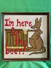 """vintage needlepoint Kangaroo With Bar & Beer I'm Here For The Beer"""" 1979 10""""x10"""""""