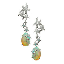 Fashion Starfish Womne Silver Fire Opal Gem Wedding Proposal Hoop Stud Earrings