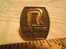 Vtg Roadway 6 Year Trucking Safety Driver Award Driving Screwback Pin