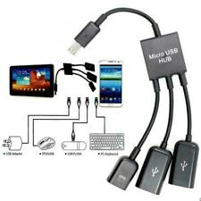 Dual Micro USB 2.0 3in1 Male to Female Host OTG Hub Adapter Cable For  EV