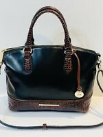 Brahmin Duxbury Satchel Black Tuscan Leather Shoulder Handbag