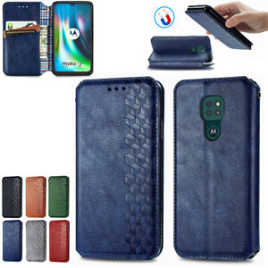 Luxury Wallet PU Leather Case for Motorola Moto G9 Play Magnetic Card Slot Cover