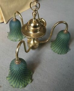 Christopher Wray 3 Bulb Brass Chandelier - BC Bulb Fittings