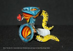 14mm YELLOW TAIL Slide Bowl w/ Ball and Horn THICK GLASS Slide Bowl 14 mm male