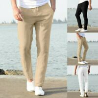 Men Sport Long Pants Fit Trousers Running Joggers Cotton Blend Casual Trousers A