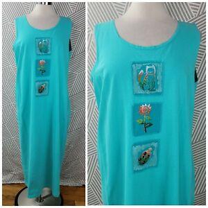 Vintage Midi Dress size Medium Large Painted Cat flower Ladybug Teal Turquoise