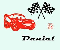 Disney Cars Lightning McQueen Wall Sticker with Name Kids Personalised SMALL