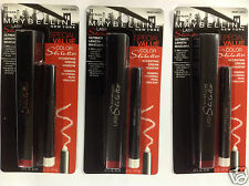 3 X Maybelline Lash Stiletto Mascara & Cream Shadow VERY BLACK/BRIGHT LIGHTS 01.