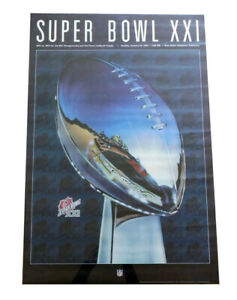 1987 Super Bowl XXI Giants vs. Broncos Full Size Poster