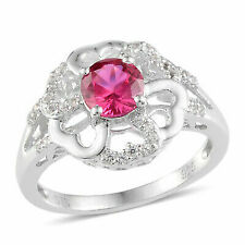Silver Created White Sapphire Synthetic Ruby Ring for Girls Size 7 Cttw 7.7