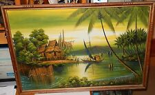 CHINESE FISHERMAN ORIGINAL OIL ON CANVAS SEASCAPE PAINTING