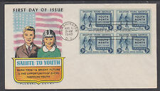 US Sc 963 FDC. 1948 Salute to Youth, Fluegel Color Cachet, Blcok of 4, VF