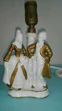 Vintage table lamp Victorian Man & woman white trim in gold  Japan