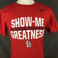 St Louis Cardinals NIKE T-Shirt Size Small Show Me Greatness Regular Fit Red