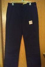 778 DOCKERS 33x30 Classic Fit Husky Adjustable Waist Pants Navy Double Knee